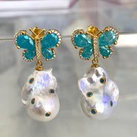 Sterling silver gold plated turquoise colored butterfly baroque pearl earrings