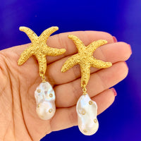 Sterling silver gold plated starfish pearl earrings