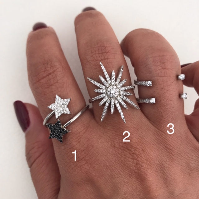 Sterling silver star and floating rings with zirconia stones