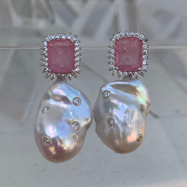 Sterling silver pink stone & baroque pearl statement earrings