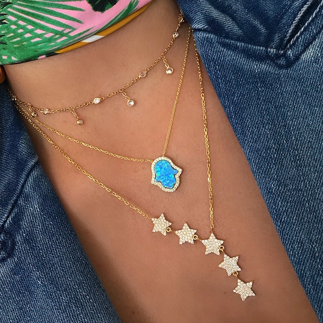 Sterling silver gold plated star drop necklace