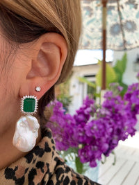 Sterling silver emerald green stone & baroque pearl statement earrings