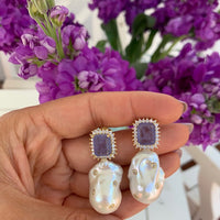Sterling silver lavender stone & baroque pearl statement earrings