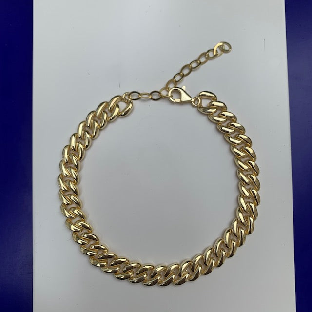 Sterling silver gold plated cuban link anklet