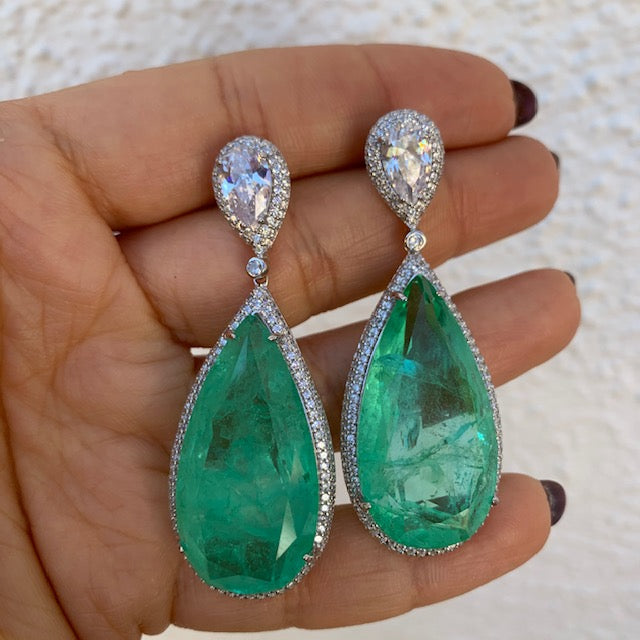 Sterling silver large paraiba stone statement earrings