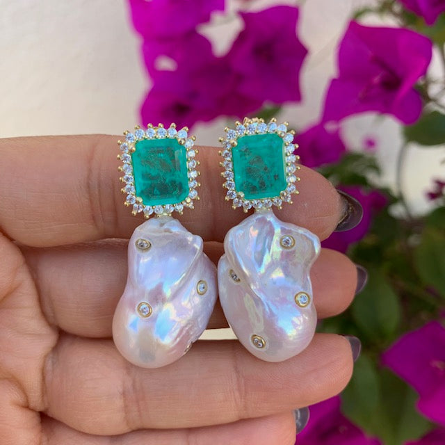 Sterling silver paraiba stone & baroque pearl statement earrings