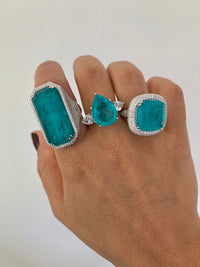 Sterling silver paraiba stone doublet statement rings
