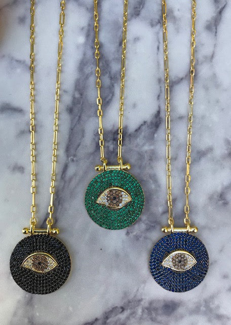 Sterling silver gold plated long eye necklace in black, green and blue