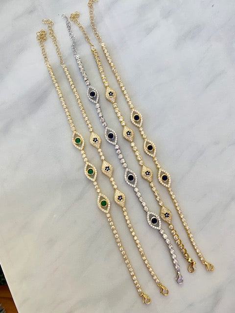 Sterling silver gold plated tennis eye bracelets
