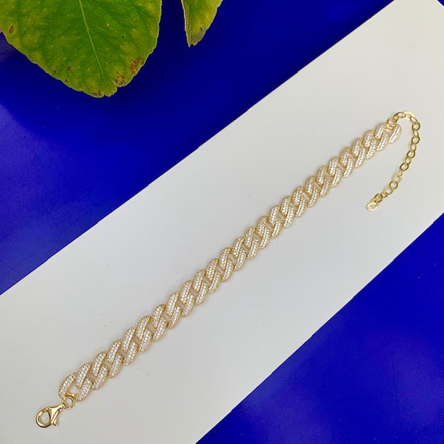Sterling silver gold plated pave cuban link anklet