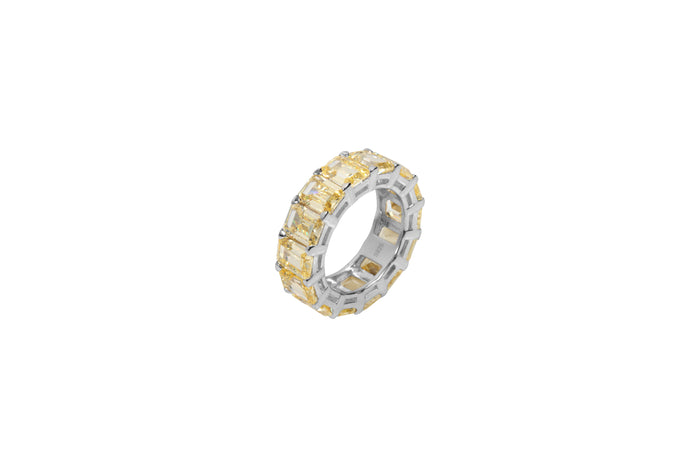 Sterling silver yellow diamond cz band