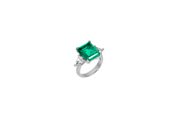 Sterling silver Emerald green ring with pear shaped side stones
