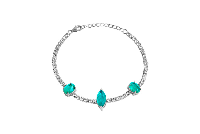 Sterling silver marquise & pear shape paraiba stone bracelets