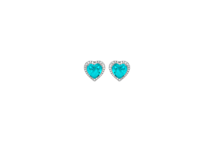 Sterling silver paraiba heart stud earrings