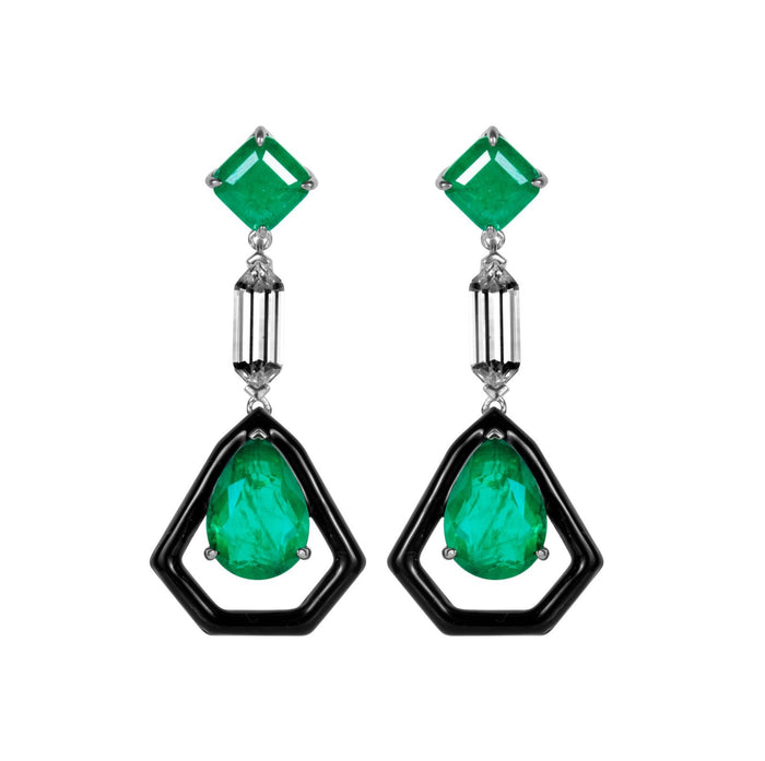 Sterling silver emerald green & black statement earrings