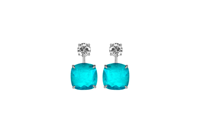 Sterling silver cushion cut pariba statement earrings