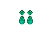 Sterling silver emerald pear shape earrings