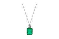 Sterling silver emerald green stone necklace