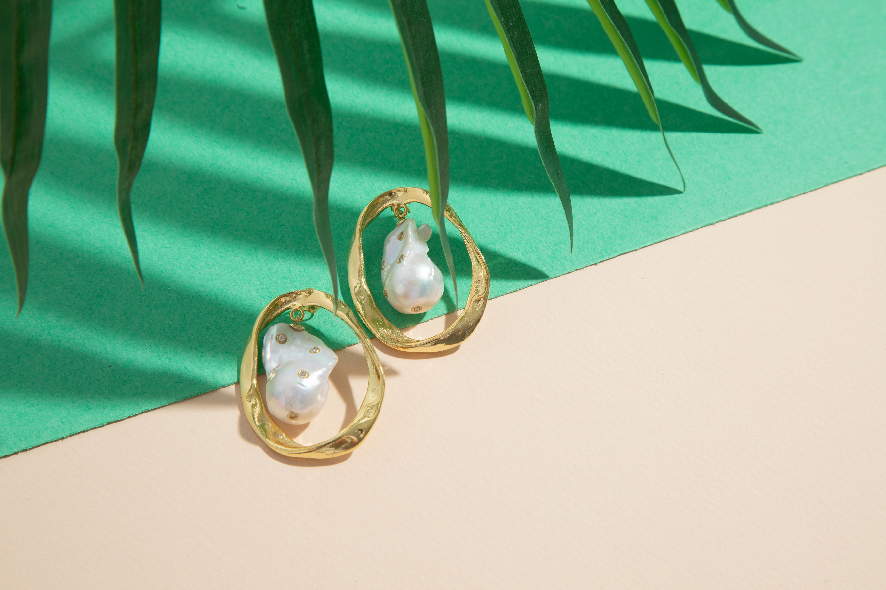 White baroque pearl sterling silver gold plated earrings