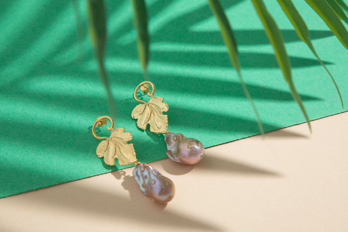 Sterling silver champagne baroque pearl leaf earrings