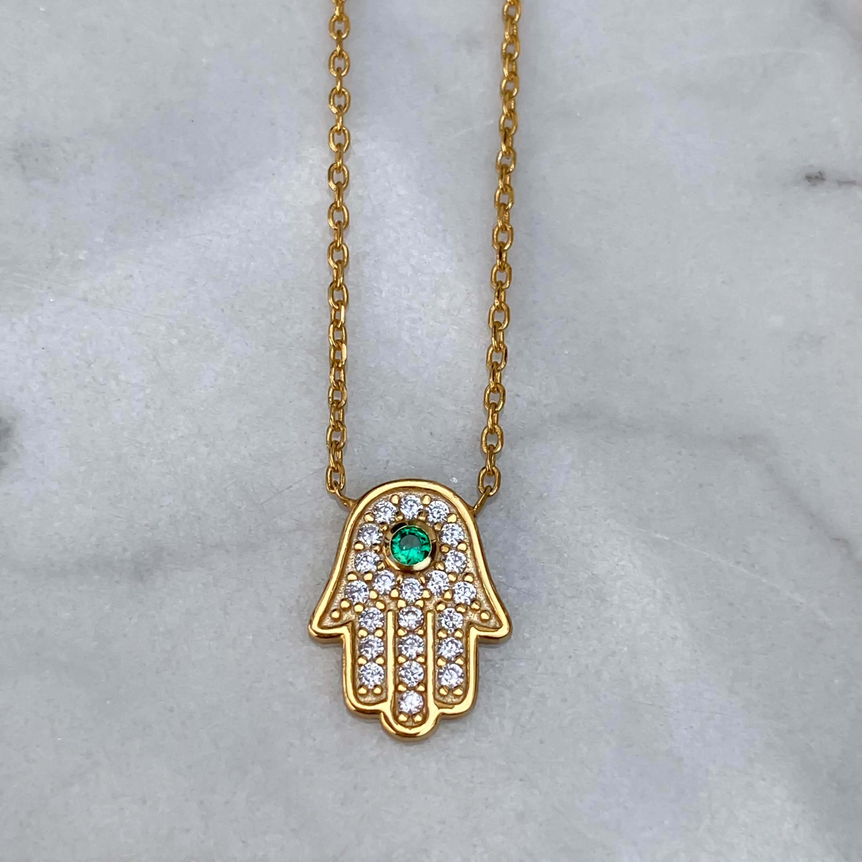 Sterling silver gold plated dainty hamsa necklace