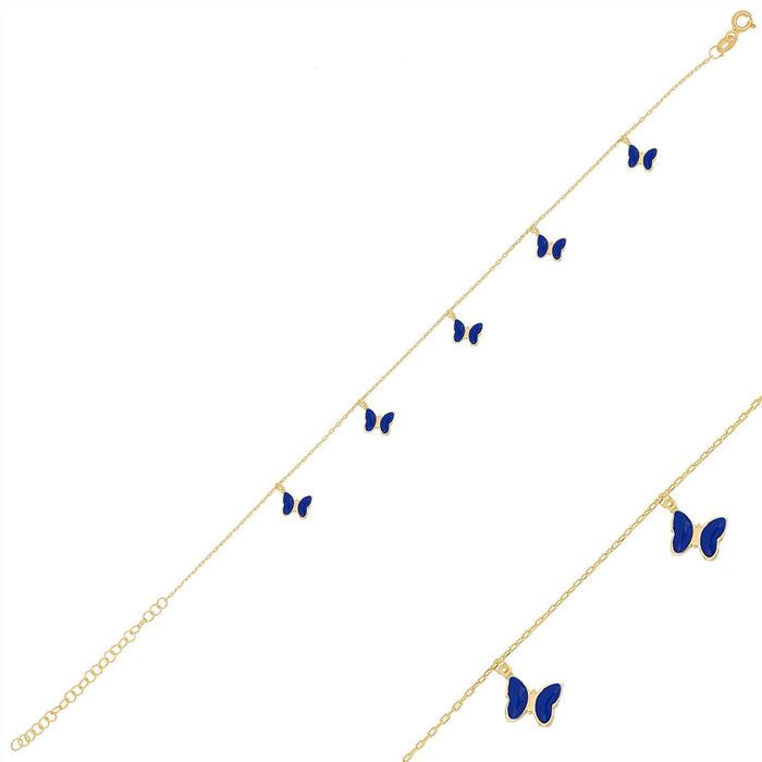 Silver gold plated navy blue enamel butterfly anklet