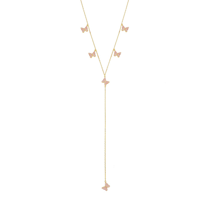 Silver gold plated blush pink enamel butterfly necklace