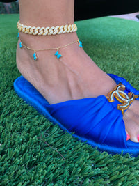 Silver gold plated turquoise enamel butterfly anklet