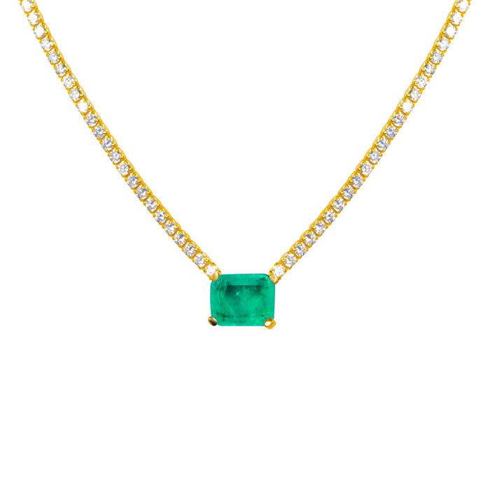 "PRE-ORDER ""Duchess"" Sterling silver gold plated emerald necklace"