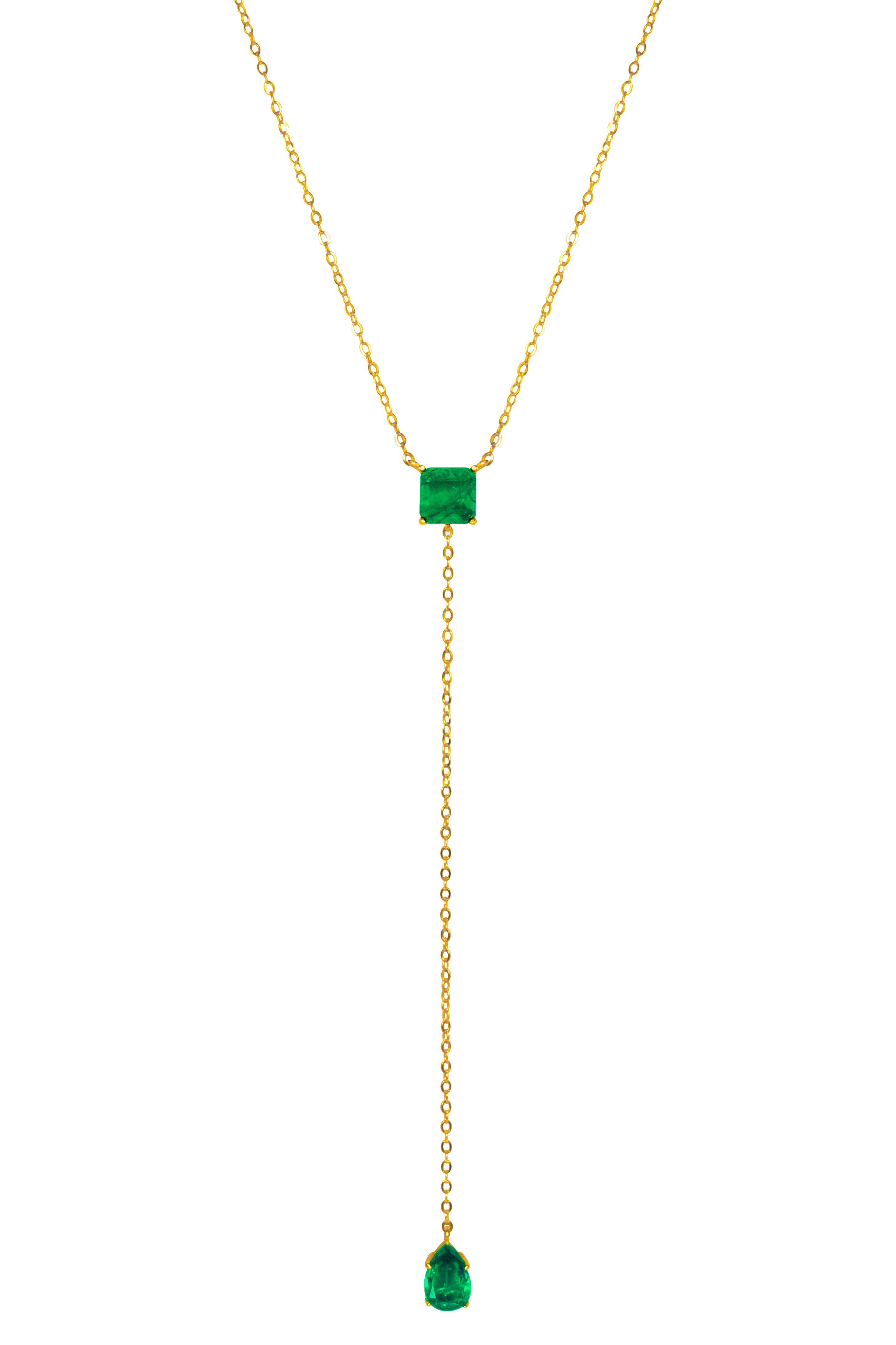 Silver gold plated square & pear emerald lariat necklace
