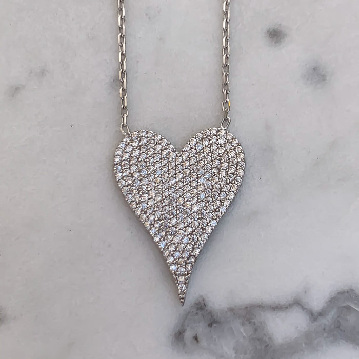 """Amore"" Sterling silver pave heart necklace"