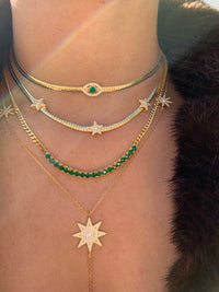 Silver gold plated herringbone green eye necklace