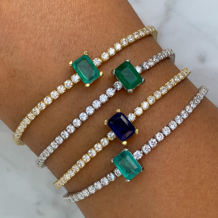 Sterling silver tennis eye gemstone bracelets