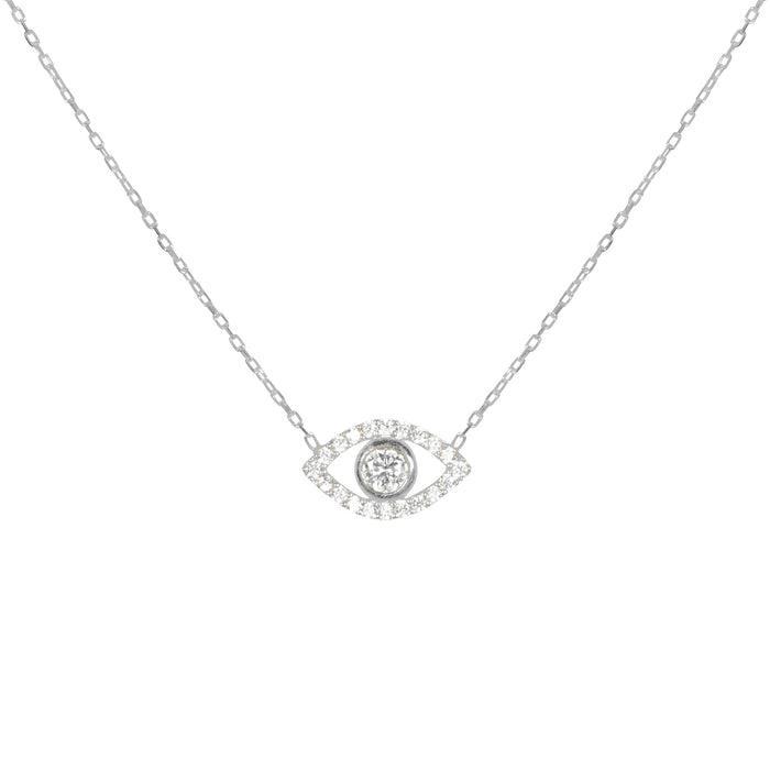 """Ojos"" Sterling silver clear eye necklace"