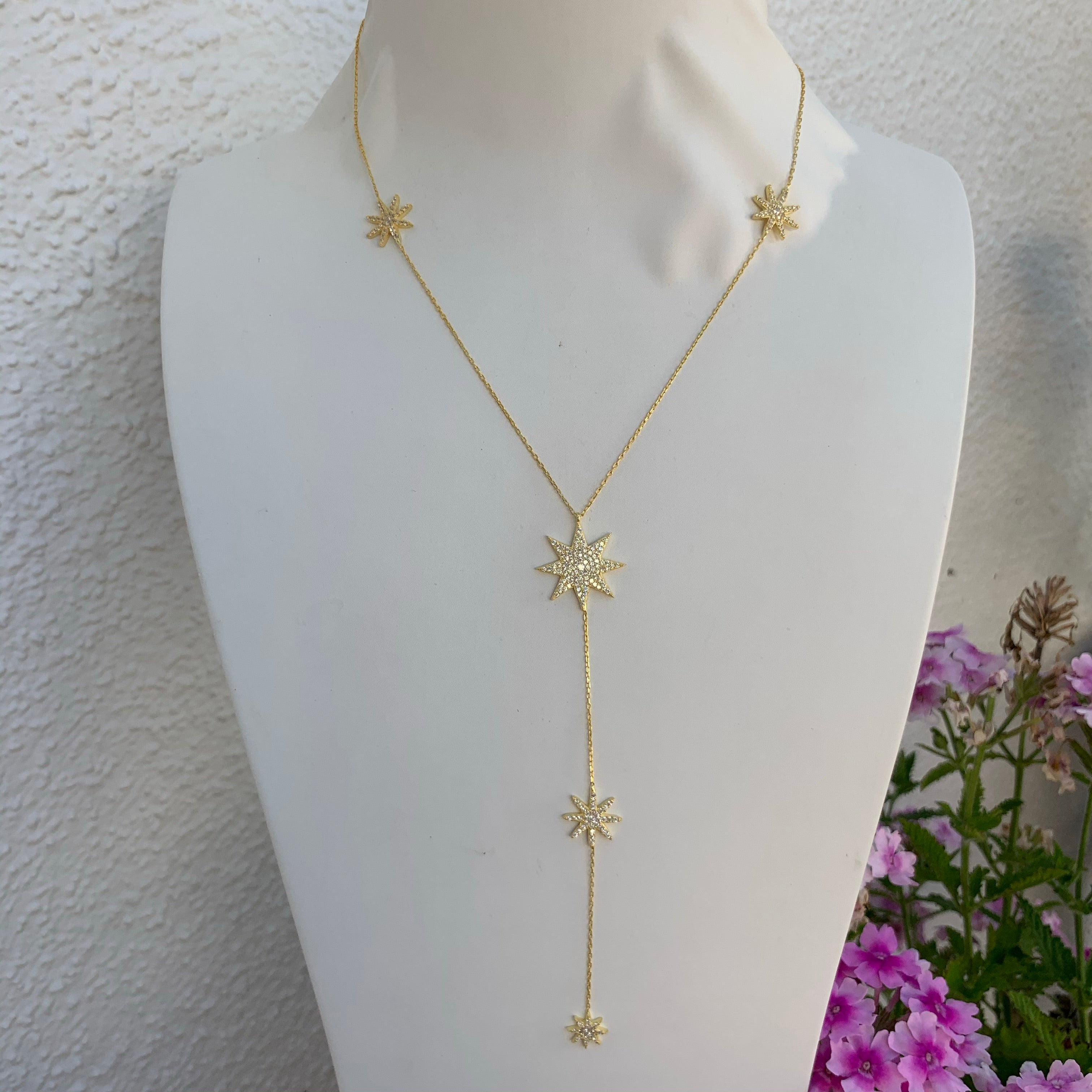 Sterling silver gold plated star lariat necklace