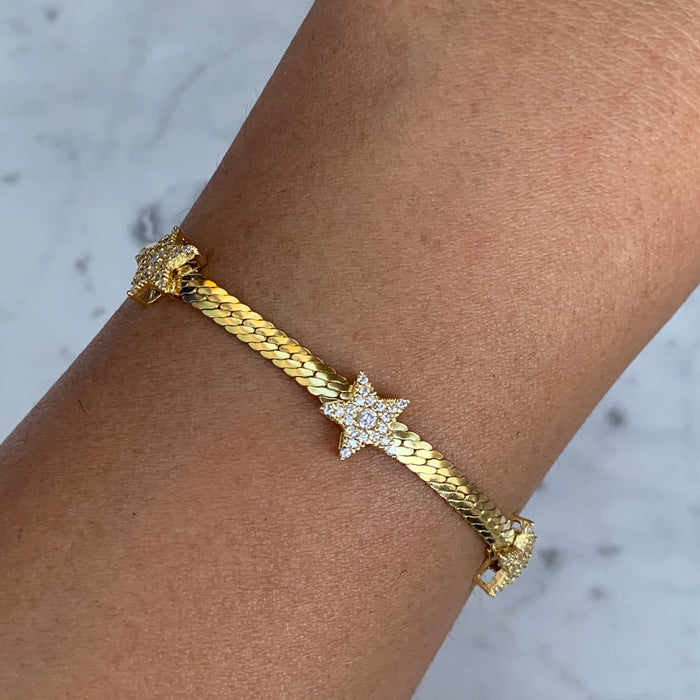 Silver gold plated 3 star herringbone bracelet