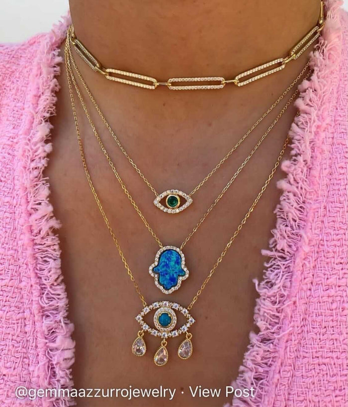 """Ojos"" Silver gold plated turquoise eye necklaces"