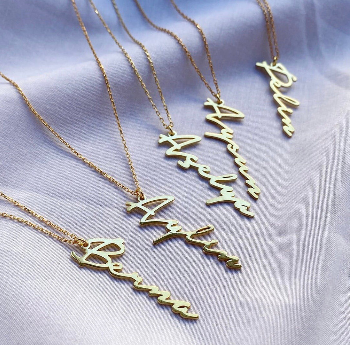 Personalized cursive name necklace silver gold plated