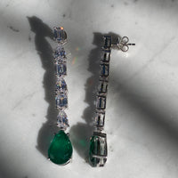 Sterling silver pear shaped drop emerald earrings