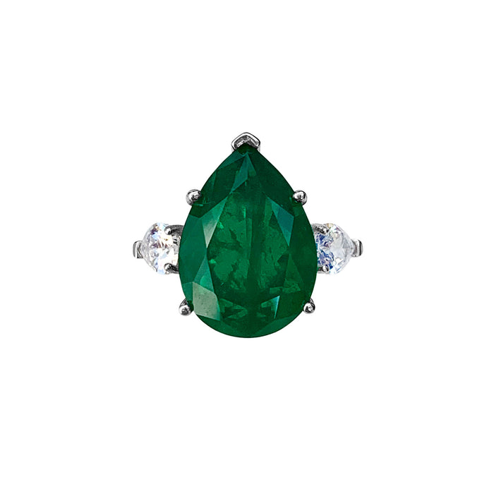 Sterling silver pear shaped emerald ring