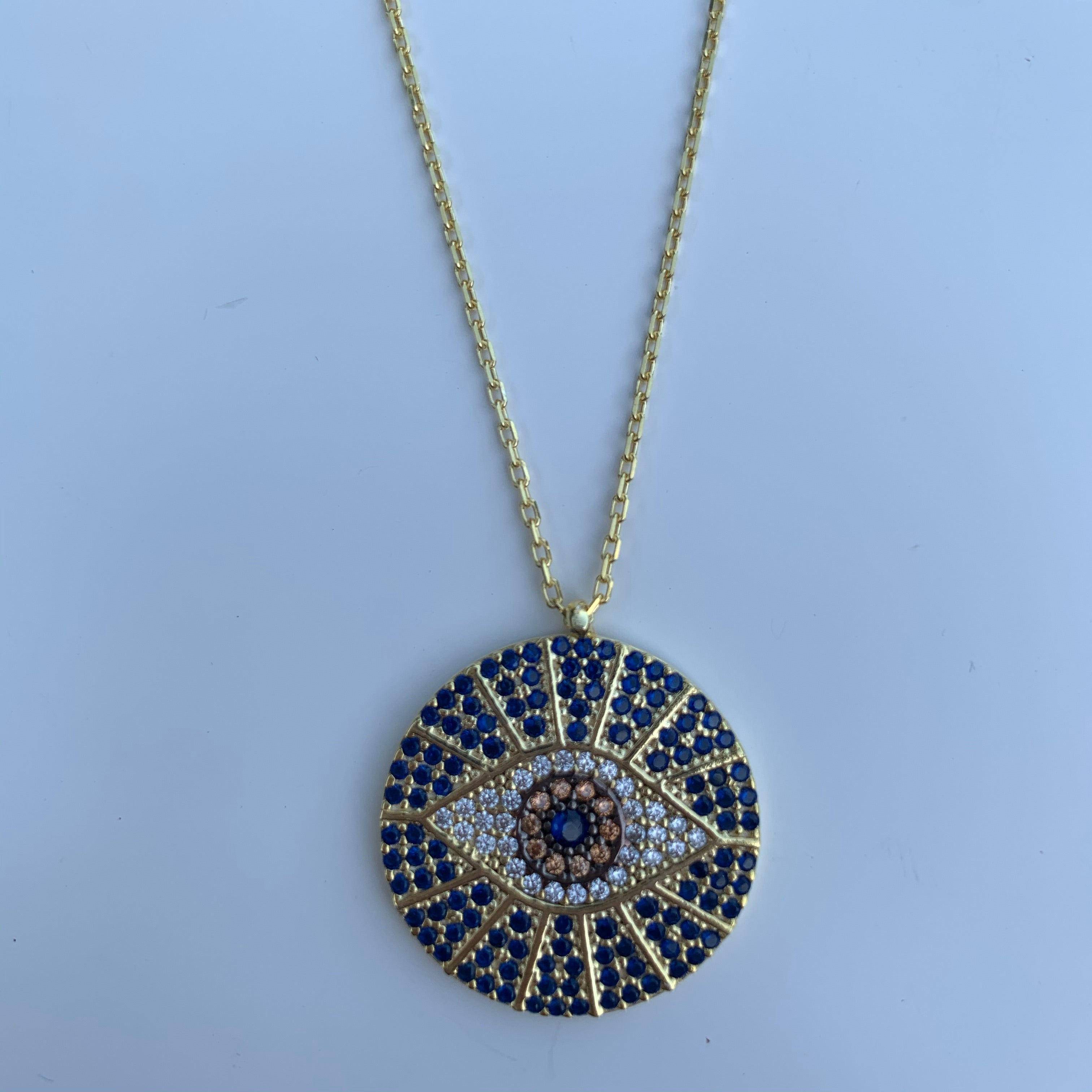 "Sterling silver gold plated ""Fortuna"" eye necklace"