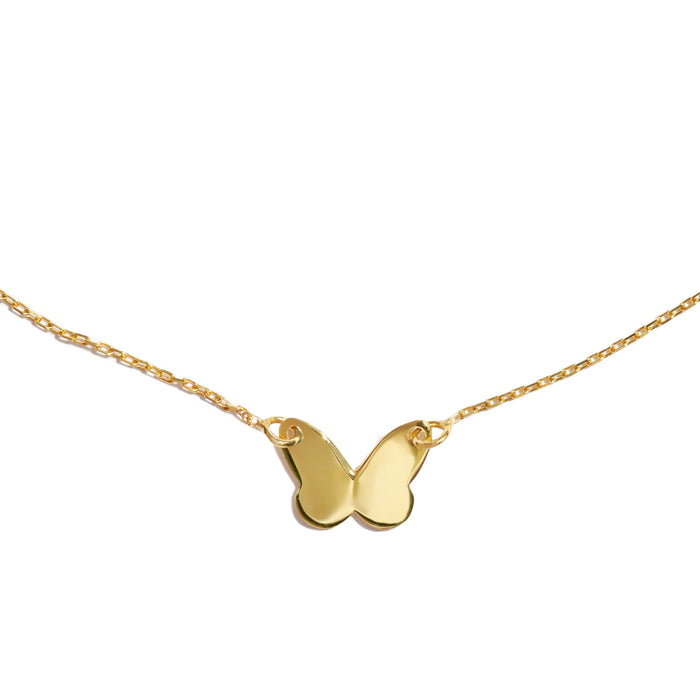 Silver gold plated dainty butterfly necklace