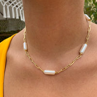 Silver gold plated strip shape pearl necklace