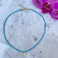 Natural turquoise beaded evil eye choker