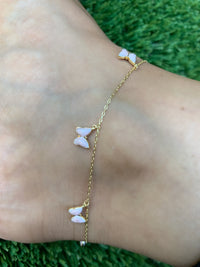Silver gold plated blush enamel butterfly anklet