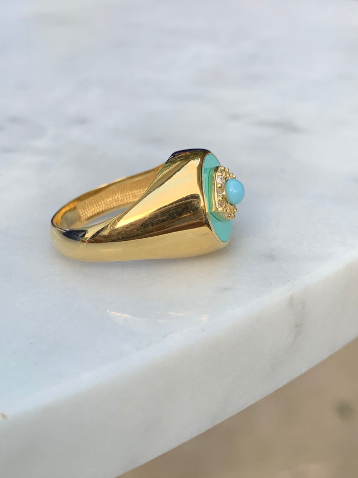 Silver 18k gold plated aqua enamel signet eye ring