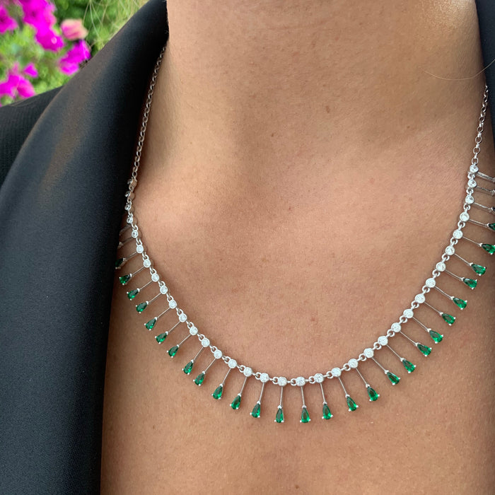 PRE-ORDER Sterling silver green drop necklace