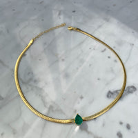 Silver gold pear emerald herringbone necklace
