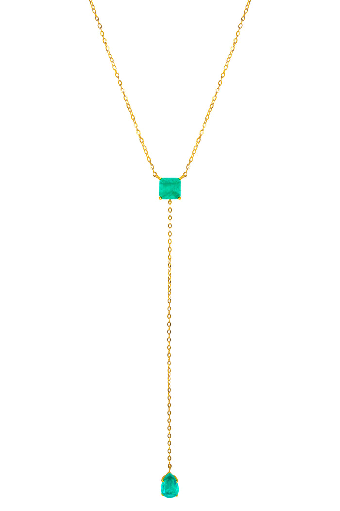 Silver gold plated square & pear paraiba lariat necklace