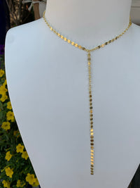 """Alara"" sterling silver gold plated lariat necklace"